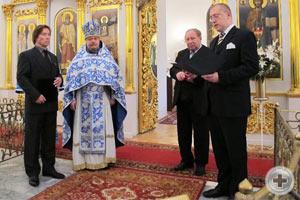 А.Н.Закатов оглашает Высочайшее поздравление В.В.Лебедеву