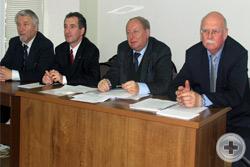 Президиум заседания Совета. Слева направо: А.Г.Шабанов, О.В.Щербачев, А.Ю.Королев-Перелешин, князь Г.Г.Гагарин