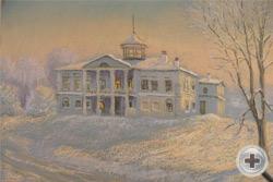 Е.Голицына. Зима в Карабихе. 2011, к.пастель