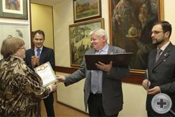 Вручение Почётной грамоты Н.В.Лопухиной