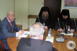 Депутат М.Ю.Маркелов, иеромонах Никон (Левачев-Белавенец) и епископ Пятигорский и Черкесский Феофилакт