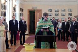 Молебен в выставочном зале «Смольный» Санкт-Петербурга перед открытием фотовыставки «Воинская доблесть Императорской Гатчины»