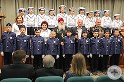 Юные моряки, носящие имя Ф.Ф. Ушакова, с потомком рода Ушаковых и адмиралом В.Д. Федоровым