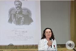 Выступление Е.Л.Адасовой посвящено выдающемуся изобретателю генералу К.А.Шильдеру