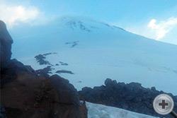 Вид на Эльбрус перед последним этапом подъёма
