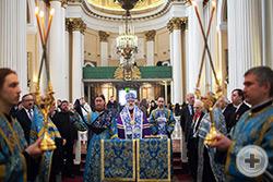 Во время праздничного богослужения в Свято-Троицком соборе