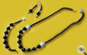 Набор «Черный агат»: бусы, браслет, серьги