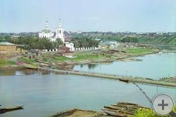 1912 | Вид на заречную часть г. Тюмени от монастыря. С запада. Церковь Св. Георгия