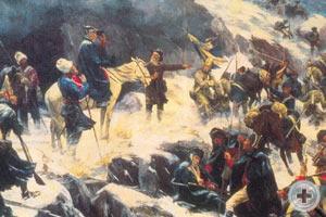 «Переход войск Суворова через Альпы в 1799 году» (1904). Художник  А. Попов