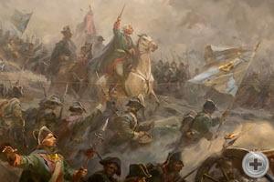 Фрагмент диорамы «Альпийский поход А.В.Суворова». В центре — полководец А.В. Суворов